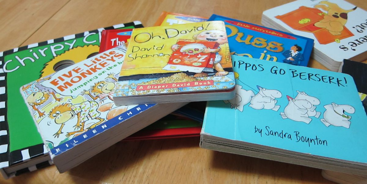 children's books on a table